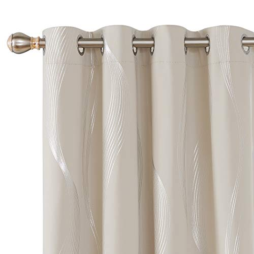 Deconovo Room Darkening Blackout Curtains Thermal Insulated Foil Print Wave Grommet Window Curtain for Living Room 52x95 Inch Light Beige 2 Panels