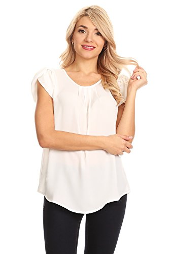April Apparel Women's Basic TOP (Small, (White Short Sleeve Blouse)