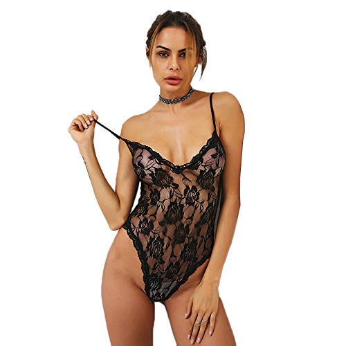 2a3be3de01 HiSexy Women Deep V Neck Teddy Lingerie Plus Size Sheer Mesh Lace Trim Sexy  Bodysuits Hollow