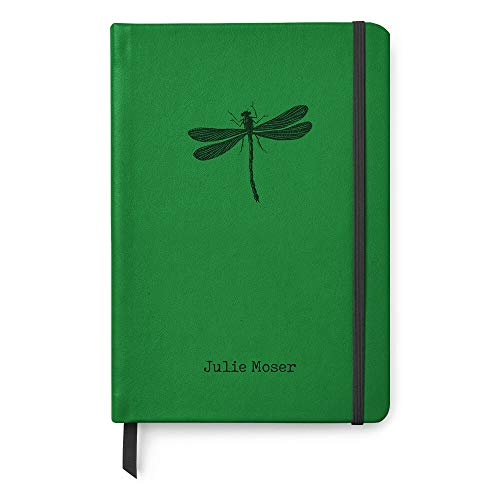 Personalized A5 Paper Leather Dotted Bullet Grid Notebook Inspirational Journal - Dragonfly (Leather Green Dragon)