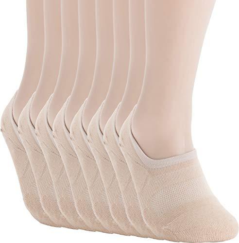(Pro Mountain Men's No Show Flat Cushion Athletic Cotton Footies Sneakers Sports Socks (L(US Men Shoe Size 8.5~10.5, size11), Beige 8pairs Pack L-size))