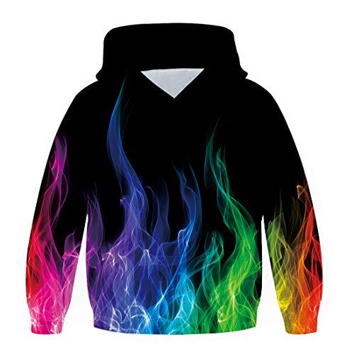 chicolife Cool Hoodies voor Jongens Meisjes 3D Gekleurde Vlam Patroon Capuchon Zakken Sweatshirt 6-8 Jaar Kinderen…