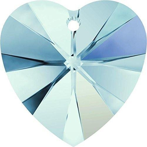 - 6228 Swarovski Pendant Xilion Heart Aquamarine AB | 10mm - Pack of 4 | Small & Wholesale Packs