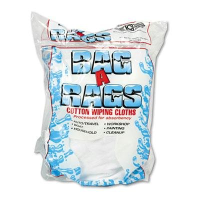 General Supply - 3 Pack - Bag-A-Rags Reusable Wiping Cloths Cotton White 1Lb Pack