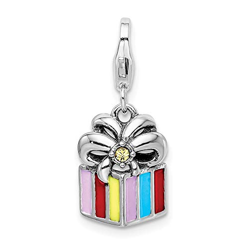 925 Sterling Silver Rh Yellow Swarovski Enameled Present Lobster Clasp Pendant Charm Necklace Holiday Fine Jewelry Gifts For Women For Her