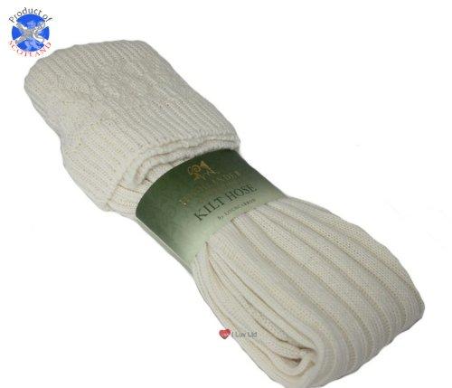 Chaussettes de tuyaux Kilt tricoté Full Length Blanc