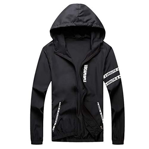 Quick Dry Sport Coat Ankola Mens Casual Jacket Outdoor Sportswear Windbreaker Lightweight Bomber Jackets (L, Black)