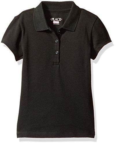 Price comparison product image The Children's Place Big Girls' Uniform Short Sleeve Polo,  Black 3378,  Large / 10 / 12