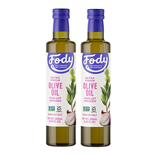 Fody Foods Vegan Extra Virgin Olive Oil Pack | Italian Made Shallot Infused | Low FODMAP Certified | Gut Friendly | IBS Friendly Kitchen Staple | Gluten Free Non GMO | 2 Bottles, 250mL