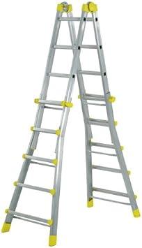 WOLFPACK LINEA PROFESIONAL 23020400 Escalera Telescópica Aluminio 4+4 Peldaños Perfil 67 mm: Amazon.es: Bricolaje y herramientas