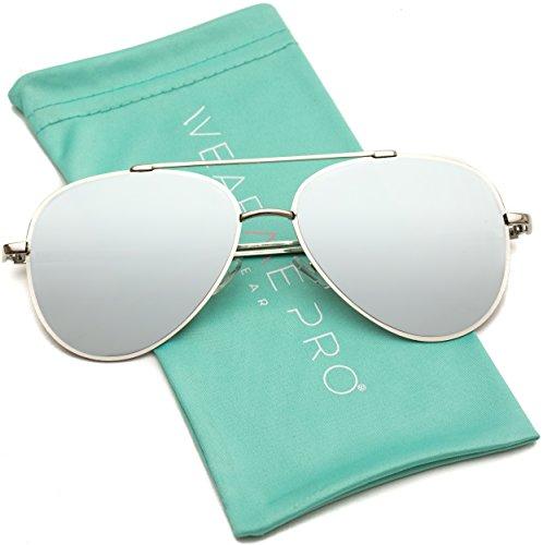 Frame Aviator - WearMe Pro - Flat Lens Mirrored Revo Metal Frame Aviator Sunglasses