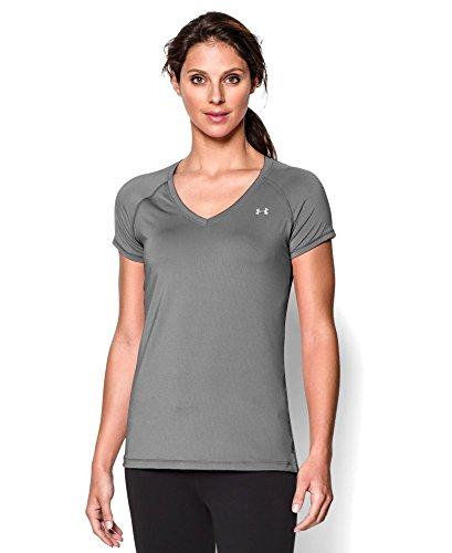 Under Armour Women's HeatGear Armour Short Sleeve, Cloud Gray/Metallic Silver, Small