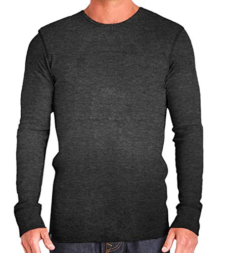 Waffle Crewneck Tee - EXIT 26 Premium Waffle Knit Blended Thermal Crewneck Long Sleeve T- Shirt for Men
