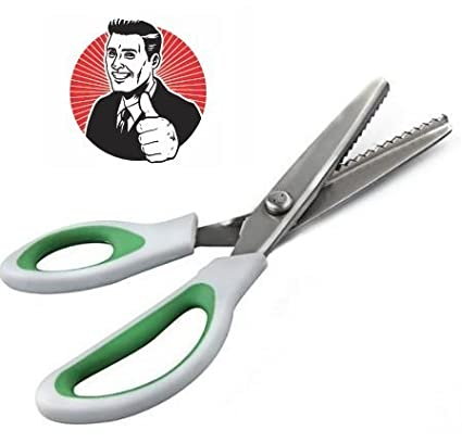 ZIG ZAG! Pinking Shears from CTE Craft: 9 Inch Green Comfort Grip Professional Serrated Edge Dressmaking / Sewing Scissors CTE Market 852414007812