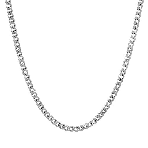 Durable Stainless Steel 3mm Cuban Curb Link Chain Necklace, 18