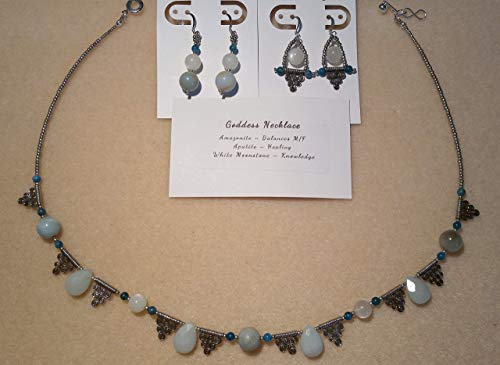 Goddess Necklace - Amazonite, Apatite & White Moonstone Necklace & Earrings Set (Necklace Set Apatite)