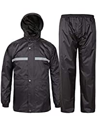 SWISSWELL Rain Suit for Men Waterproof Hooded Rainwear (Jacket & Trouser Suit) (Small, Black-Heavy)
