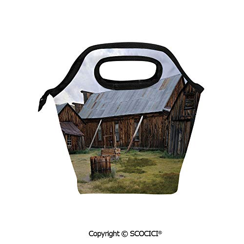 Insulation portable lunch box bag California Old Barn of A Country House American Rural View Soft Fabric lunch bag Mummy bag.