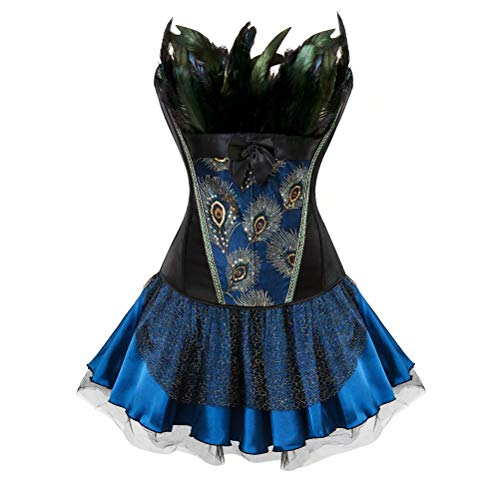 jutrisujo Dress Corsets for Women Bustier Lingerie for Gothic Peacock Feather Halloween Medieval Plus Size Blue Black -