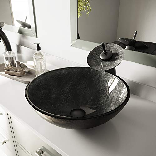 VIGO Gray Onyx Glass Vessel Bathroom Sink and Waterfall Faucet with Pop Up, Matte Black