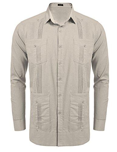 COOFANDY Mens Long-Sleeve Guayabera Cuban Shirt Casual Button Down Cotton Linen Shirt,Light -