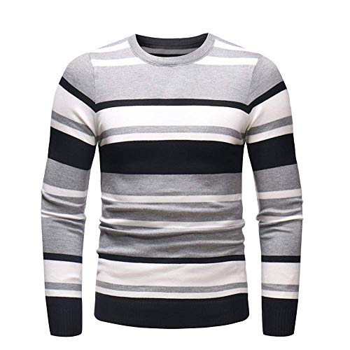 Usstore  Men's Casual Autumn Winter Long Sleeve Sweater Pullover Slim Jumper Knitwear O-Neck Hooded Outwear Blouse (Gray, L)
