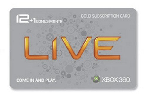 Xbox 360 Live 12 Month Gold Card plus 1 Month Bonus