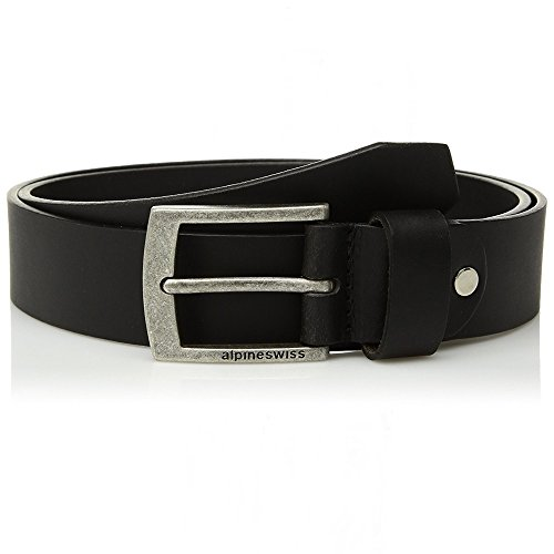 alpine swiss Men's Casual Jean Belt 35MM Genuine Leather Silver Buckle, Black, Size 34