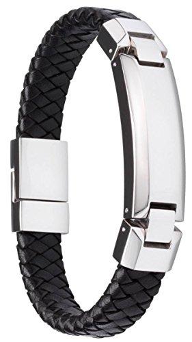 Black Chunker Flat Weave Leather Plaited Identity Bracelet by Duncan Walton