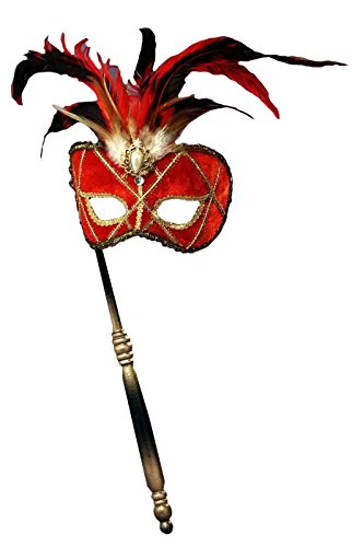 Forum Novelties Women's Feather Masquerade Mask with Holding Stick, Red/Black, One Size
