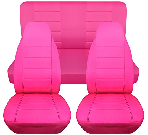 Solid Car Seat Covers: Hot Pink - Universal Fit - Full Set - Front Buckets & Rear Bench - Option for Airbag/Seat Belt/Armrest/Release/Lever/Split ()