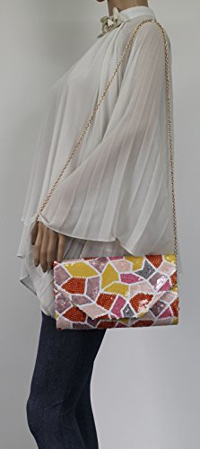 Sequin Envelope Night Ana Womens Clutch Trendy Party Out Bag SWANKYSWANS Prom Color Multi 8qAxEwn0X
