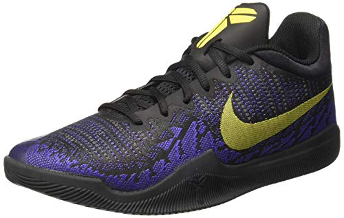 NIKE Men's Mamba Rage Basketball Shoe Black/Tour Yellow/Court Purple (12, Black/Tour Yellow-Court Purple)