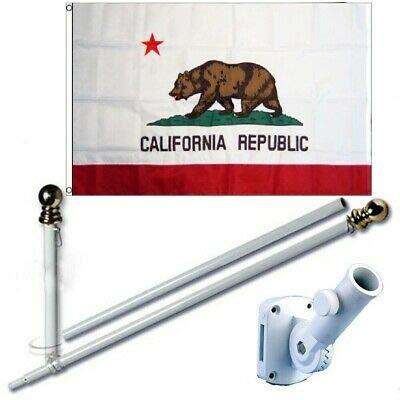 K's Novelties Embroidered California 3x5 FT Flag Set + 6Ft Spinning Tangle Free Pole + Bracket