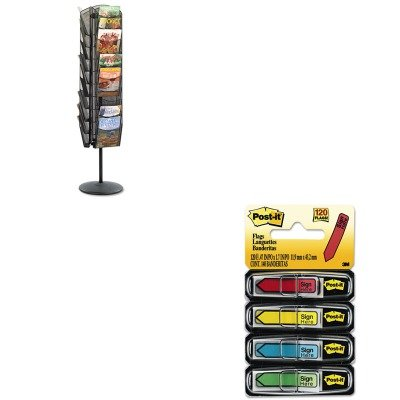 KITMMM684SHSAF5577BL - Value Kit - Safco Onyx Mesh Rotating Magazine Display (SAF5577BL) and Post-it Arrow Message 1/2amp;quot; Flags (MMM684SH)