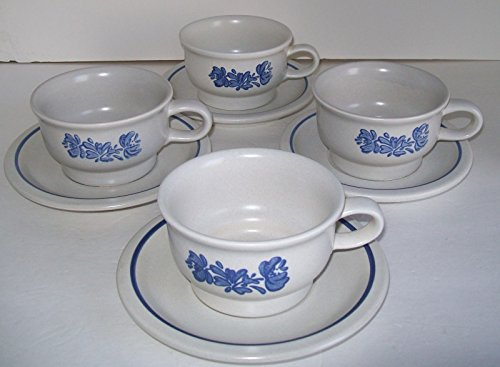 Pfaltzgraff Stoneware Yorktowne coffee cup with saucer set, service for 4
