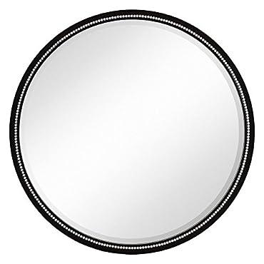 Majestic Mirror Round Simple Semi Gloss Black w/ Shiny Studs Framed Wall Mirror