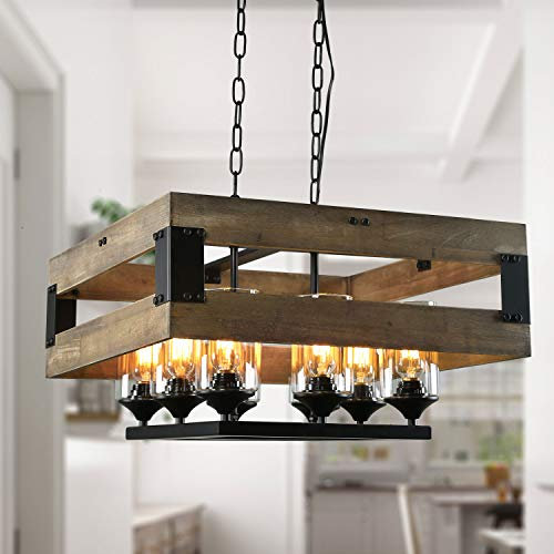 LNC Wood 8-Light Kitchen Island Pendant Large Farmhouse Dining Room Chandelier with Clear Glass Shade, A02986