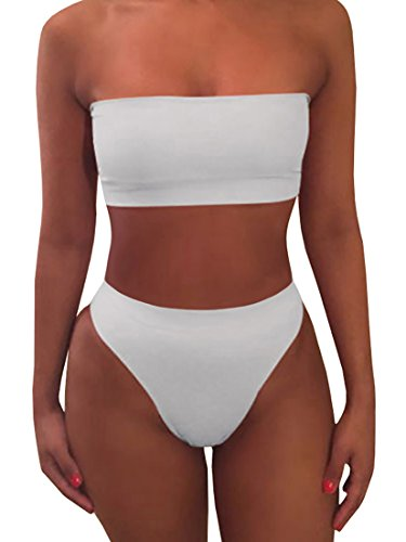 Bandeau Bikini Swimsuit - Ybenlow Women's 2 Piece Solid Bandeau Swimsuit Top Bottom Set,White,Medium
