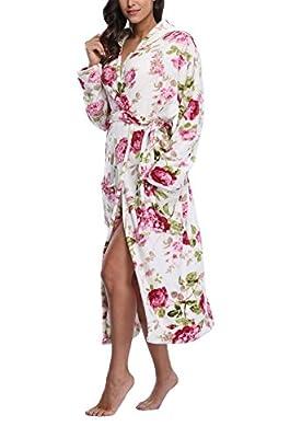 FADSHOW Women's Fleece Robes Long Hooded Bathrobes Winter Warm Wrap Robes,Floral Print