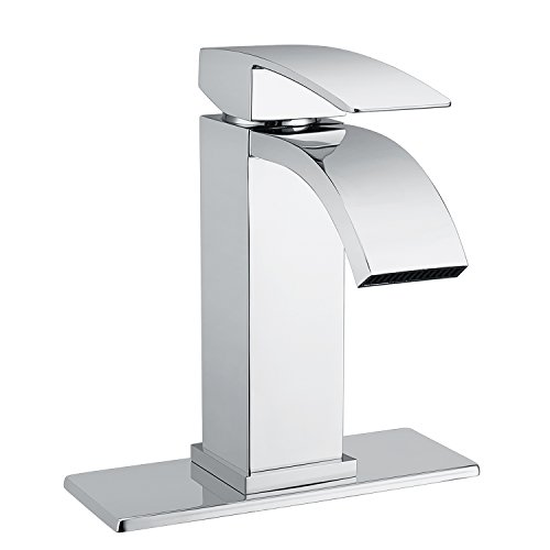 Waterfall Bathroom Sink Faucet Set - Doris F001 Single Handle Bathroom Sink Faucet for Single Hole and 3 Holes Sink with 4 inch Centerset Deck Plate (Polished Chrome 3 Hole)