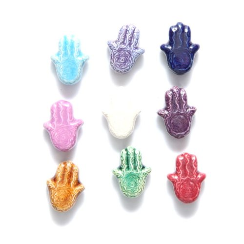 (Peruvian Shipwreck Hand Crafted Ceramic Hamsa Hand Bead Mix, 14mm, 10 Per Pack)