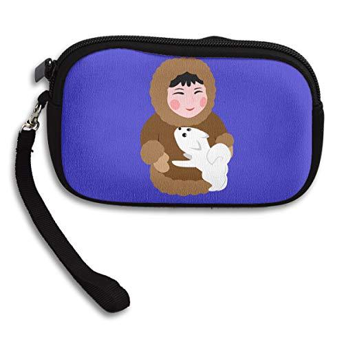 Women Wallets Eskimo Dog Wristlet Clutch Wallet Zipped -