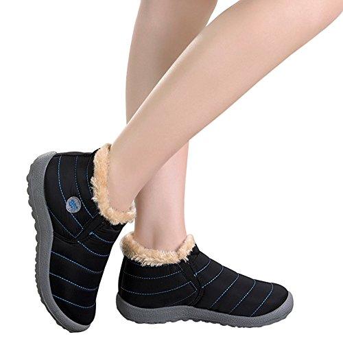 Santimon Snow Boots Women Men Fur Lined Waterproof Winter Outdoor Slip On Boots Ankle Snow Booties Anti-Slip Lightweight Shoes Black(women) PJJqXQRf