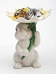 Cosmos 10590 Fine Porcelain Bunny Candy/Candle Holder, 3-3/4-Inch
