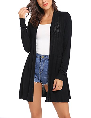 - iClosam Womens Casual Long Sleeve Open Front Cardigan Sweater (Black, XX-Large)