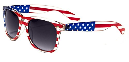 Flag Red Top White Bottom - Classic American Patriot Flag Sunglasses USA (Gray Lens)