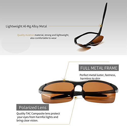 9f6d7e6cc7a Amazon.com  SUNGAIT Men s HD Polarized Sunglasses for Driving Fishing  Cycling Running Metal Frame UV400 (Black Frame Brown Lens) 8177HKC  Clothing