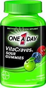 One-A-Day VitaCraves  Sour Gummy Multivitamin, 50-Count Gummies (Pack of 4)