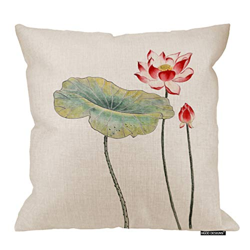 HGOD DESIGNS Lotus Pillow Cover,Chinese-Style Lotus Water Lily Flower Art Drawing Cotton Linen Cushion Covers Home Decorative Throw Pillowcases 18x18inch - Art Lotus Chinese Flower